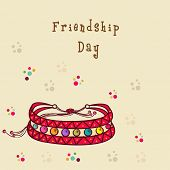 image of friendship day  - Stylish friendship bands on colorful dots decorated beige background for Happy Friendship Day - JPG
