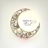 stock photo of eid al adha  - Beautiful crescent moon decorated with floral design and stylish text Jashn - JPG