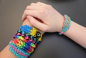 stock photo of tween  - Loom band craft is a global trend - JPG