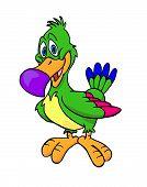 stock photo of dodo  - hand drawn cartoon of a multi colored bird - JPG