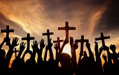 foto of jesus  - Group of People Holding Cross and Praying in Back Lit - JPG