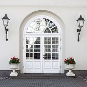 picture of front-entry  - Elegant classic style double glass paned front door with front lanterns and flower pots - JPG