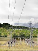 pic of transformer  - power plant with pylons and transformers overhead view - JPG
