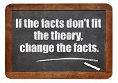 if the facts do not fit the theory, change the facts - a quote from Albert EInstein -  white chalk text  on a vintage slate blackboard poster