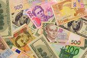 Постер, плакат: The Ukrainian Modern Money grivna And Other Popular Currency