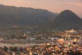 stock photo of saraswati  - Aerial view of Pushkar city at sunrise Rajasthan India - JPG
