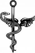 picture of serpent  - Woodcut image of the Mayan plumed serpent god god Kukulcan entwined around the medical symbol of the Rod of Aesculapius - JPG