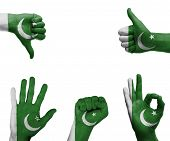 stock photo of pakistani flag  - A set of hands with different gestures wrapped in the flag of Pakistan - JPG