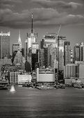 picture of nightfall  - View of Midtown West Manhattan from New Jersey across the Hudson - JPG