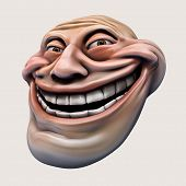 stock photo of troll  - laughing internet troll head 3d illustration isolated - JPG