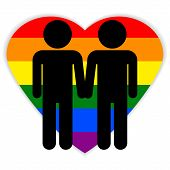 stock photo of gay symbol  - Gay couple symbol on white background - JPG