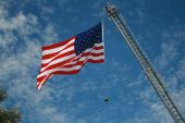 American flag with Firemans hat