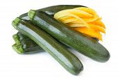 pic of zucchini  - Zucchini and zucchini flowers with leaf isolated on white background - JPG