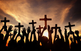 pic of pray  - Group of People Holding Cross and Praying in Back Lit - JPG