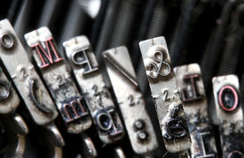 picture of ampersand  - details of the ampersand letter and in a part of the old typewriter - JPG