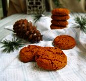 stock photo of winterberry  - a few Festive cookies for Christmas party - JPG