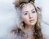stock photo of queen crown  - beauty young snow queen in fairy flashes with hair crown on her head close up - JPG