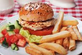 stock photo of chicken  - Chicken burger with lettuce - JPG