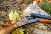 stock photo of shotgun  - A wooden retro shotgun in autumn style close - JPG