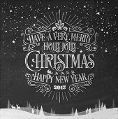 image of merry  - Merry Christmas And New Year Typographical Background On Blackboard With Chalk - JPG