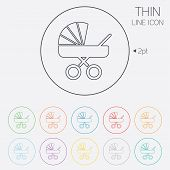 stock photo of buggy  - Baby pram stroller sign icon - JPG