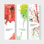picture of vivid  - Vector vertical business banner set with abstract rainbow watercolor texture background - JPG