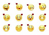 stock photo of emoticon  - Set of 12 beauty valentine emoticons in love - JPG