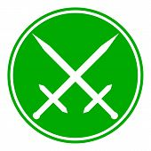 foto of crossed swords  - Crossed swords button on white background - JPG