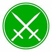 foto of crossed swords  - Crossed swords button on white background - JPG