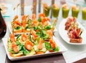 pic of banquet  - Shrimp appetizers on banquet table - JPG