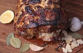 image of pot roast  - Roasted meat on wooden cutting board closeup - JPG