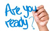 stock photo of query  - Are You Ready written on a transparent board - JPG