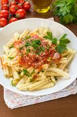 picture of italian parsley  - dish of italian pasta topped with tomato sauce and parsley - JPG