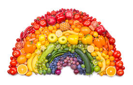 stock photo of papaya fruit  - fruit and vegetable rainbow - JPG