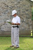 stock photo of foundation  - Home inspector found serious foundation damage on house for sale - JPG