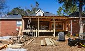 picture of construction  - Construction at residential house back deck being recontructed and repaired - JPG