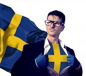 picture of sweden flag  - Businessman Superhero Country Sweden Flag Culture Power Concept - JPG