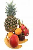image of dragon fruit  - pineapple mango orange banana and dragon fruit isolated on the white background - JPG