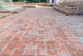 stock photo of ling  - ancient red grunge brick footpath floor background texture - JPG