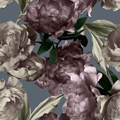 pic of garden-art  - art vintage monochrome graphic and watercolor floral seamless pattern with white and purple peonies on grey background - JPG