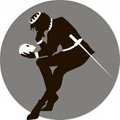 picture of hamlet  - Black and white illustration of Hamlet with a skull in his hand - JPG