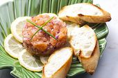picture of tartar  - salmon tartar with red onion - JPG