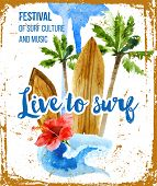 stock photo of woodstock  - Live to surf poster in retro style - JPG