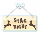 pic of woodgrain  - Stag Nightmen only sign in woodgrain with blue ribbon and bow over a white background with jumping stag cartoons - JPG