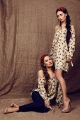 stock photo of headband  - fashion studio photo of two beautiful girls with dark hair in dresses with prints of red poppies and with headbands - JPG