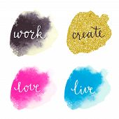 pic of gold-dust  - Watercolor colorful stains with motivation lettering - JPG