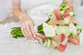 stock photo of calla  - Beautiful wedding bouquet of rose Vendella - JPG