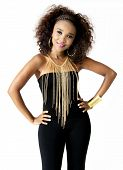 picture of afro  - Beautiful African Female Model with Hands on Hips - JPG