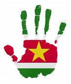 picture of suriname  - Handprints with Suriname flag - JPG