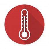 stock photo of thermometer  - thermometer red flat icon temperature sign - JPG